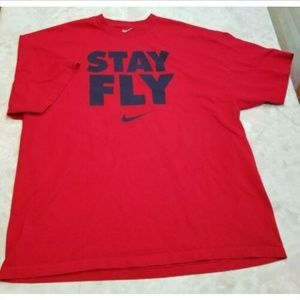 "NIKE ""STAY FLY"" Slogan Men's Size XXL Red T-Shirt"